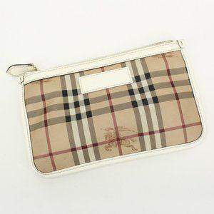 Burberry Leather Tartan Check Clutch Zip Bag